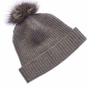 PORTOLANO 100% Cashmere Hat with Fox Fur Pom Pom